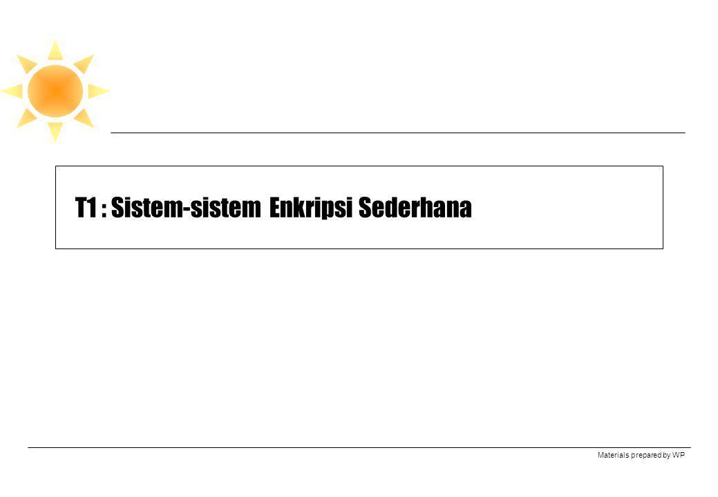Materials prepared by WP T1 : Sistem-sistem Enkripsi Sederhana