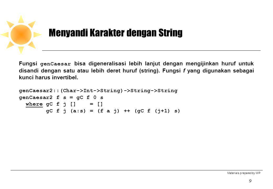 Materials prepared by WP 9 Menyandi Karakter dengan String Fungsi genCaesar bisa digeneralisasi lebih lanjut dengan mengijinkan huruf untuk disandi de