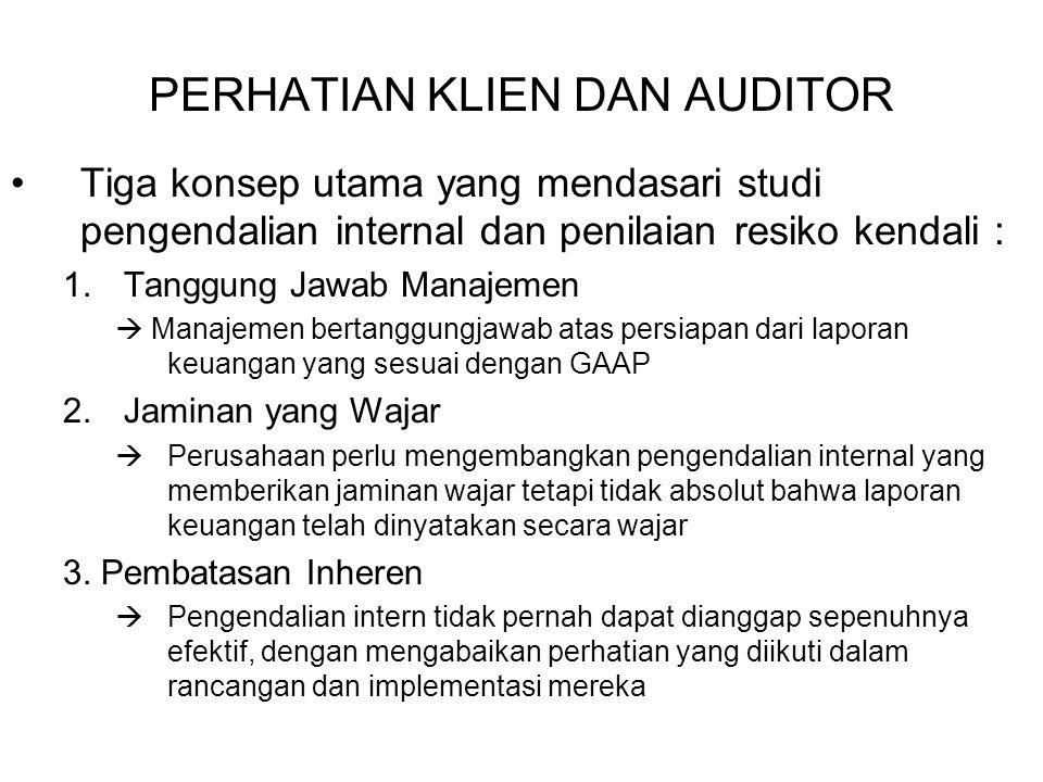 Alasan Untuk Memahami Pengendalian Internal Yang Cukup Untuk Merencanakan Audit SAS 55 (diperbaiki oleh SAS 78 dan SAS 94, AU 319)  meminta auditor untuk memperoleh sebuah pemahaman akan pengendalian internal untuk setiap audit 1.Auditabilitas 2.Potensi Salah Saji Material 3.Resiko Deteksi 4.Rancangan Ujian Suatu pendekatan umum yang digunakan oleh auditor adalah untuk : 1.Memperoleh suatu pemahaman dari lingkungan kendali, prosedur penilaian resiko, informasi akuntansi dan sistem komunikasi dan metode pengawasan pada suatu tingkatan yang wajar terperinci 2.Mengidentifikasi pengendalian spesifik yang akan mengurangi resiko kendali dan membuat suatu penilaian dari resiko pengendalian 3.Menguji kendali untuk efektivitas