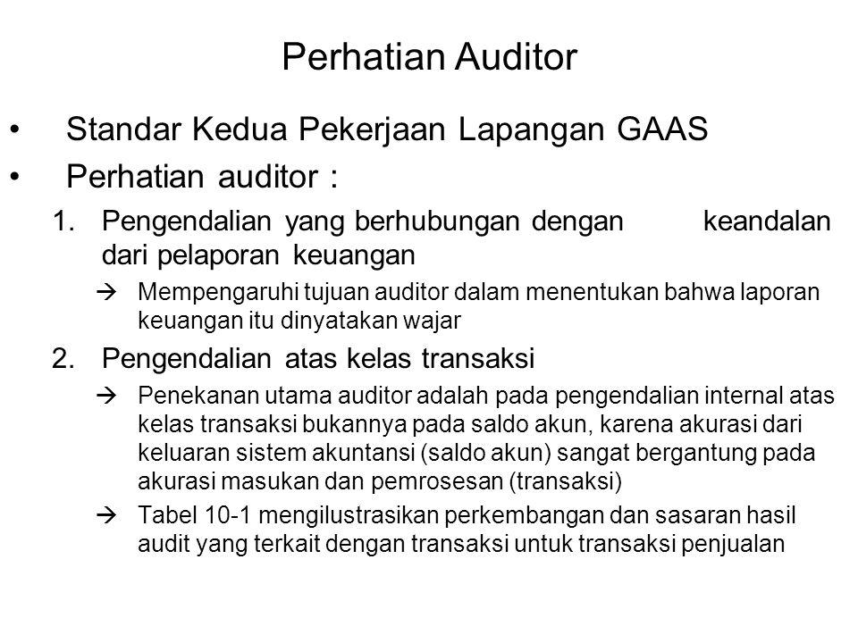 Perhatian Auditor Standar Kedua Pekerjaan Lapangan GAAS Perhatian auditor : 1.Pengendalian yang berhubungan dengan keandalan dari pelaporan keuangan  Mempengaruhi tujuan auditor dalam menentukan bahwa laporan keuangan itu dinyatakan wajar 2.Pengendalian atas kelas transaksi  Penekanan utama auditor adalah pada pengendalian internal atas kelas transaksi bukannya pada saldo akun, karena akurasi dari keluaran sistem akuntansi (saldo akun) sangat bergantung pada akurasi masukan dan pemrosesan (transaksi)  Tabel 10-1 mengilustrasikan perkembangan dan sasaran hasil audit yang terkait dengan transaksi untuk transaksi penjualan
