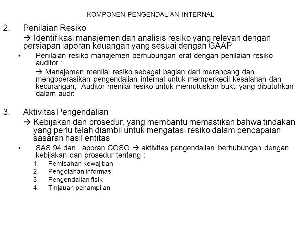 KOMPONEN PENGENDALIAN INTERNAL Lima jenis aktivitas pengendalian yang berhubungan dengan kebijakan dan prosedur : 1.