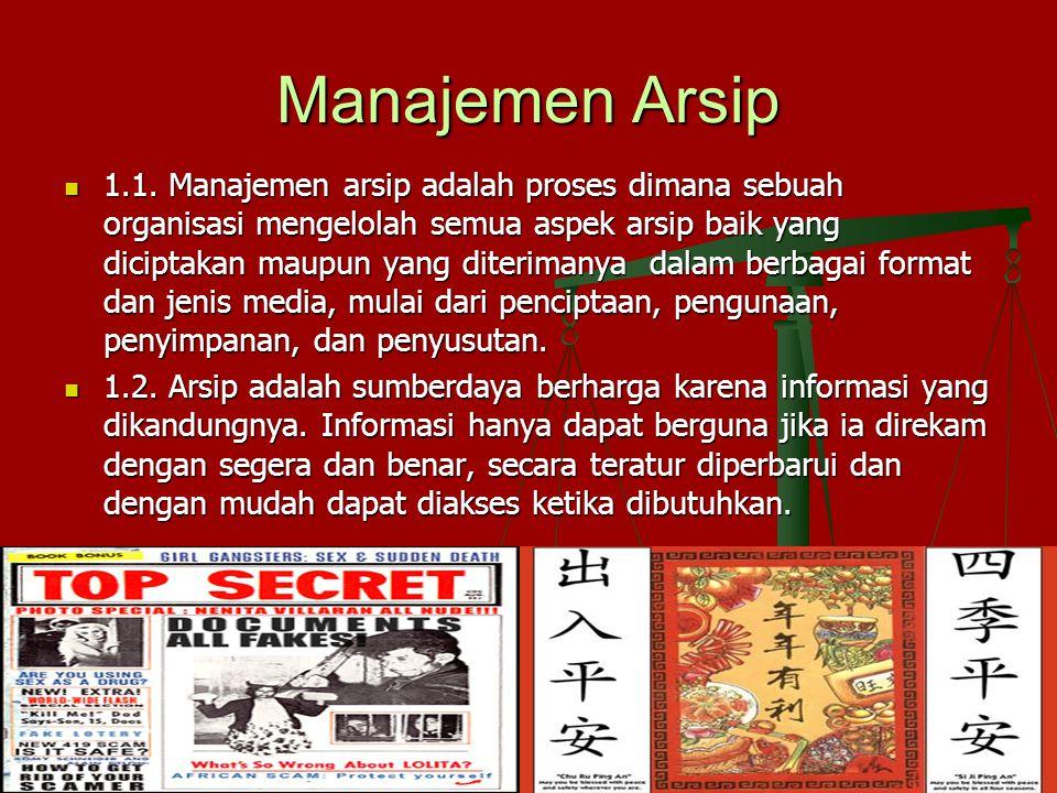 Manajemen Arsip 1.1. Manajemen arsip adalah proses dimana sebuah organisasi mengelolah semua aspek arsip baik yang diciptakan maupun yang diterimanya