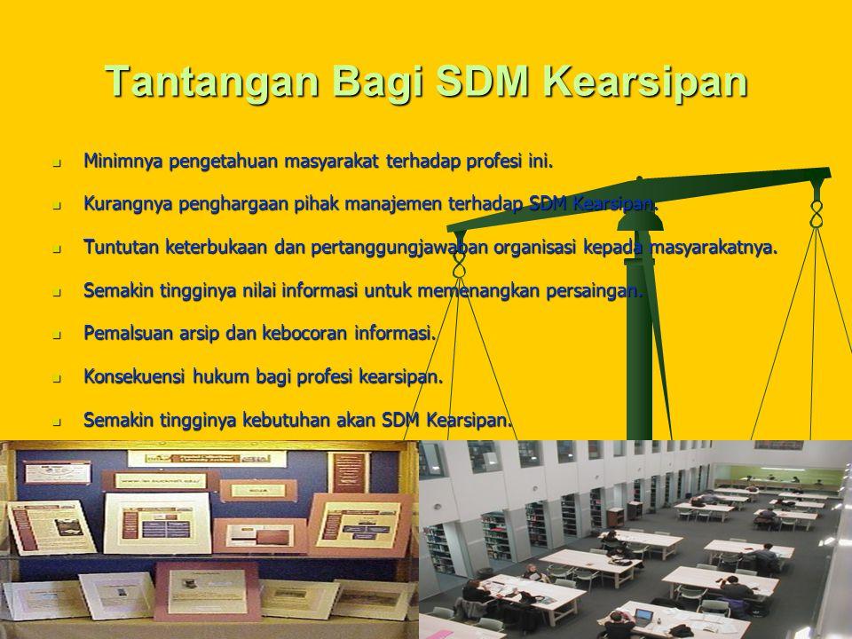 Tantangan Bagi SDM Kearsipan Minimnya pengetahuan masyarakat terhadap profesi ini.