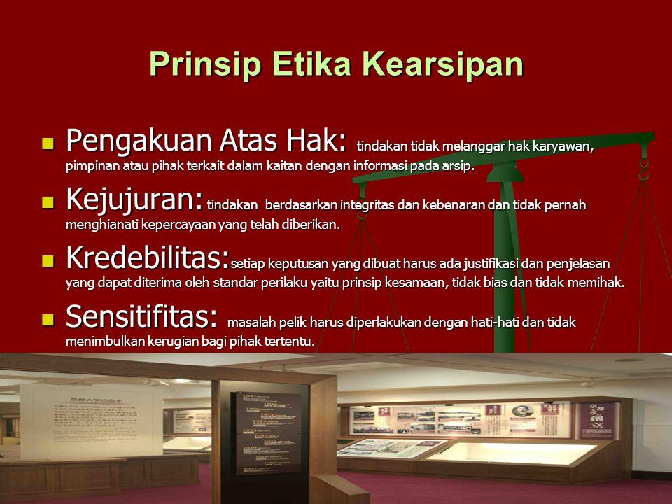 Prinsip Etika Kearsipan Pengakuan Atas Hak: tindakan tidak melanggar hak karyawan, pimpinan atau pihak terkait dalam kaitan dengan informasi pada arsi