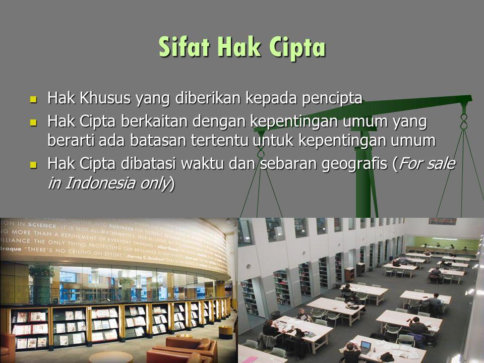 Sifat Hak Cipta Hak Khusus yang diberikan kepada pencipta Hak Khusus yang diberikan kepada pencipta Hak Cipta berkaitan dengan kepentingan umum yang berarti ada batasan tertentu untuk kepentingan umum Hak Cipta berkaitan dengan kepentingan umum yang berarti ada batasan tertentu untuk kepentingan umum Hak Cipta dibatasi waktu dan sebaran geografis (For sale in Indonesia only) Hak Cipta dibatasi waktu dan sebaran geografis (For sale in Indonesia only)