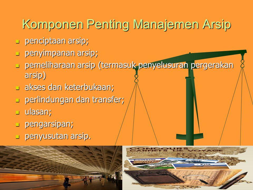 Komponen Penting Manajemen Arsip penciptaan arsip; penciptaan arsip; penyimpanan arsip; penyimpanan arsip; pemeliharaan arsip (termasuk penyelusuran p