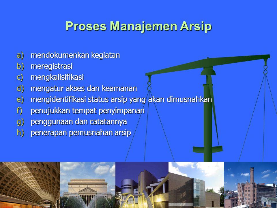 Proses Manajemen Arsip a)mendokumenkan kegiatan b)meregistrasi c)mengkalisifikasi d)mengatur akses dan keamanan e)mengidentifikasi status arsip yang a