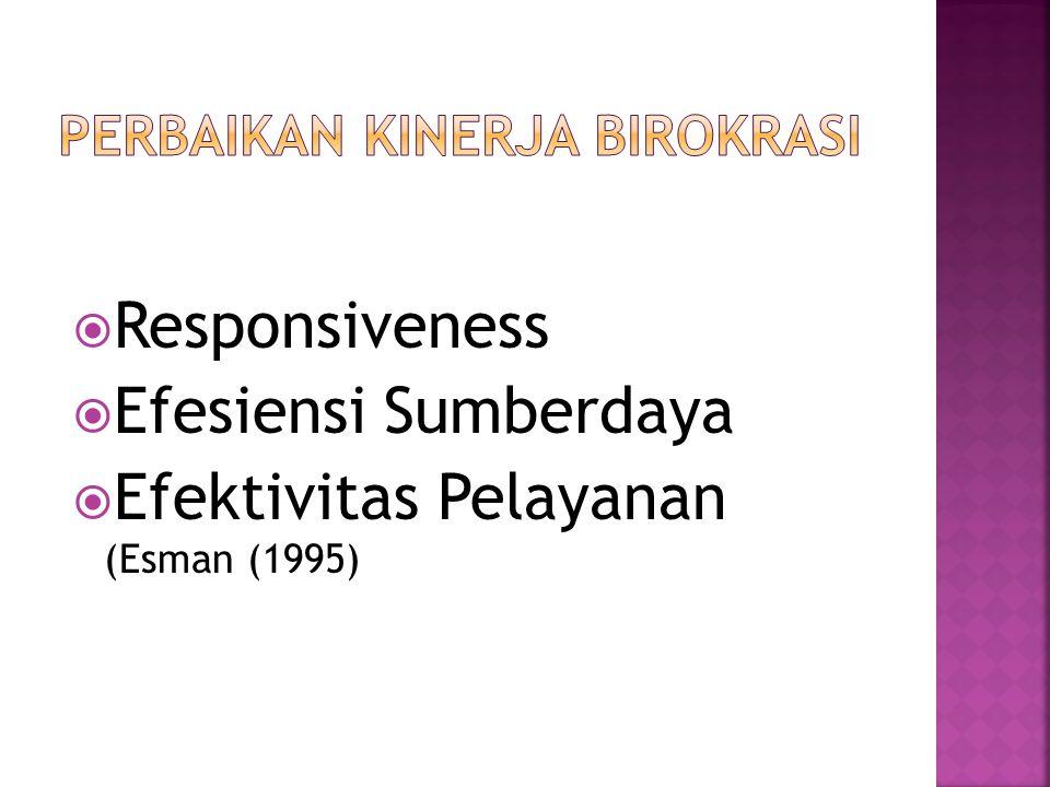  Responsiveness  Efesiensi Sumberdaya  Efektivitas Pelayanan (Esman (1995)