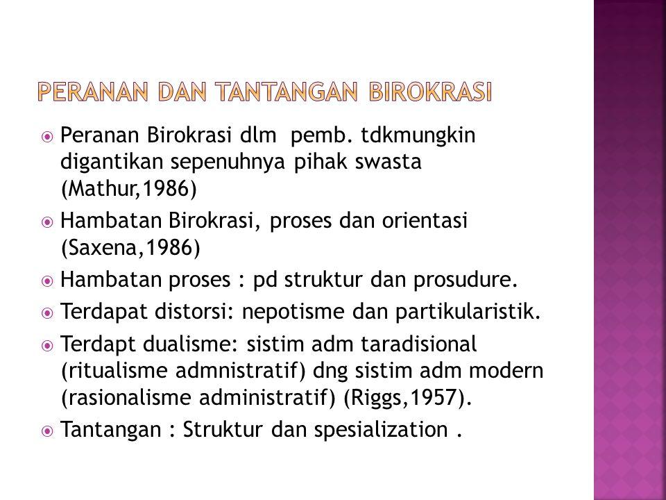  Peranan Birokrasi dlm pemb. tdkmungkin digantikan sepenuhnya pihak swasta (Mathur,1986)  Hambatan Birokrasi, proses dan orientasi (Saxena,1986)  H