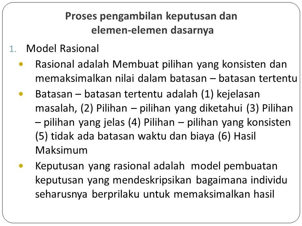 Proses pengambilan keputusan dan elemen-elemen dasarnya 1. Model Rasional Rasional adalah Membuat pilihan yang konsisten dan memaksimalkan nilai dalam
