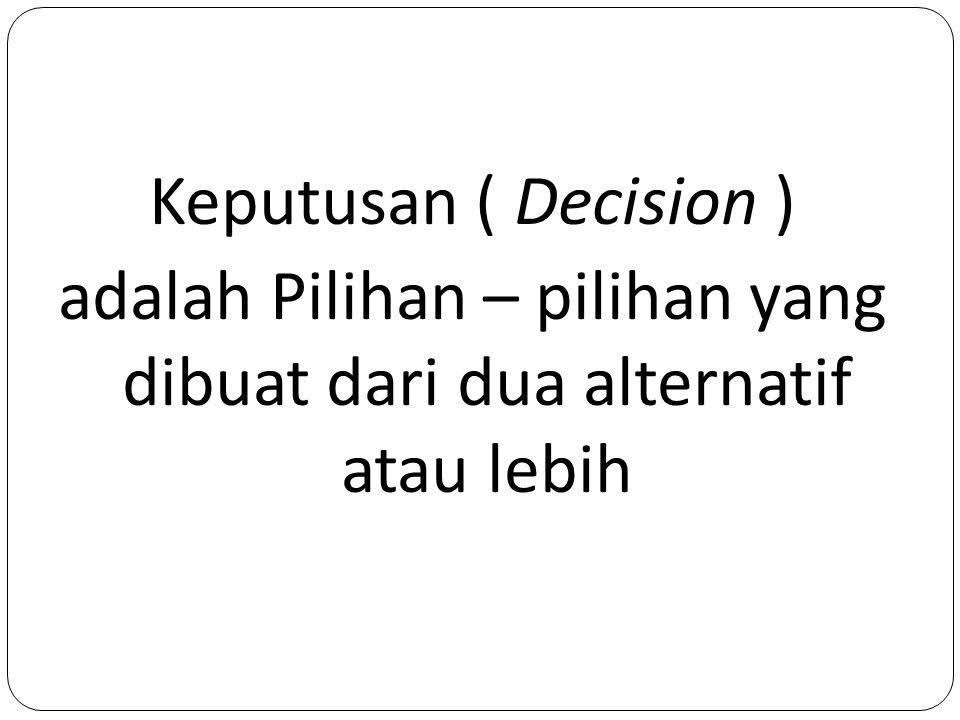 Keputusan ( Decision ) adalah Pilihan – pilihan yang dibuat dari dua alternatif atau lebih
