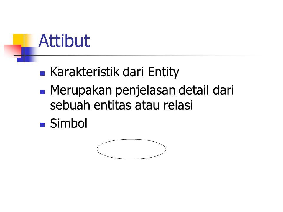 Attibut Karakteristik dari Entity Merupakan penjelasan detail dari sebuah entitas atau relasi Simbol