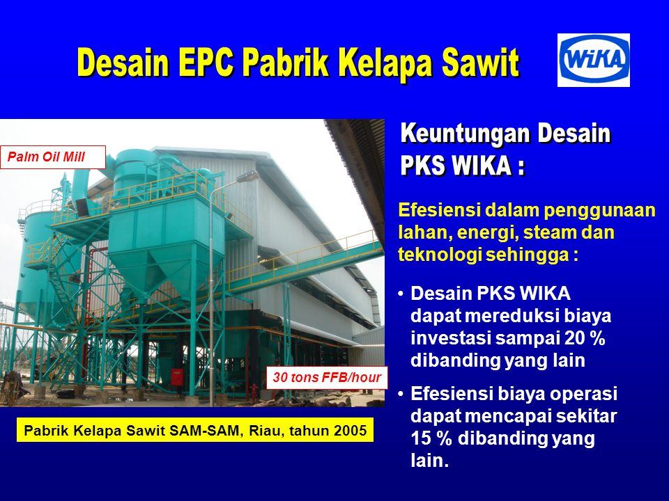 30 tons FFB/hour Desain PKS WIKA dapat mereduksi biaya investasi sampai 20 % dibanding yang lain Efesiensi biaya operasi dapat mencapai sekitar 15 % dibanding yang lain.
