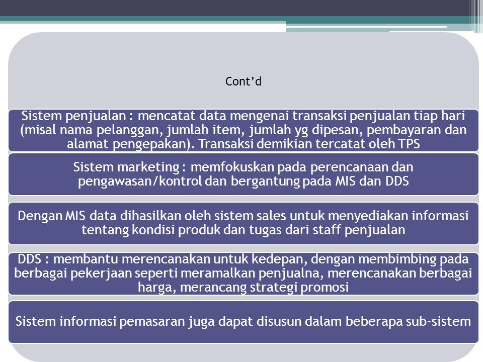 Cont'd Sistem penjualan : mencatat data mengenai transaksi penjualan tiap hari (misal nama pelanggan, jumlah item, jumlah yg dipesan, pembayaran dan a