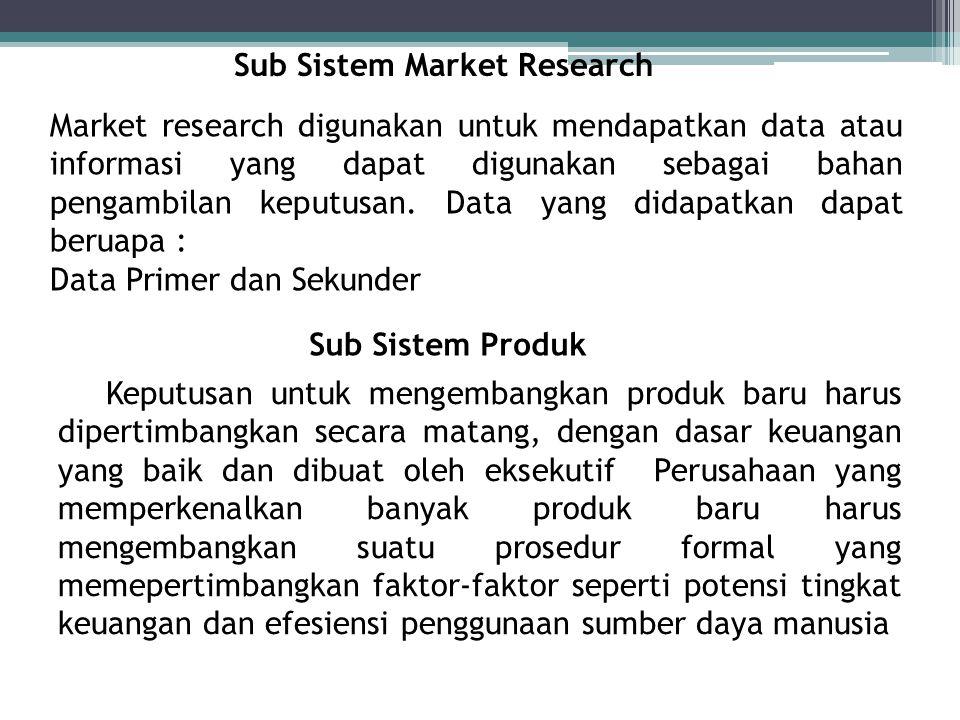 Sub Sistem Market Research Market research digunakan untuk mendapatkan data atau informasi yang dapat digunakan sebagai bahan pengambilan keputusan. D