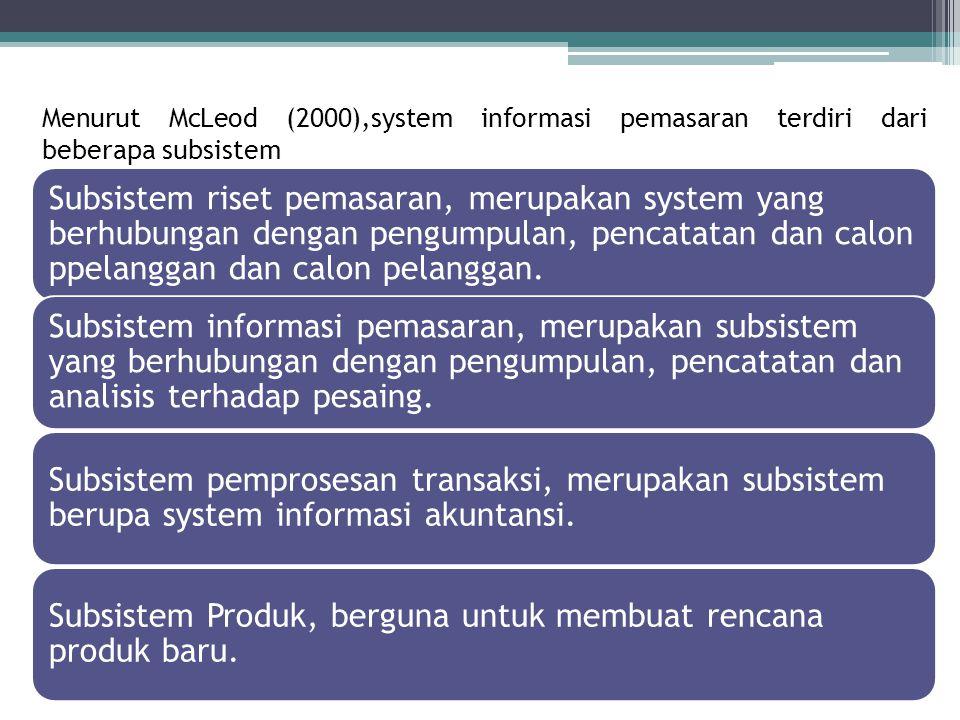 Menurut McLeod (2000),system informasi pemasaran terdiri dari beberapa subsistem Subsistem riset pemasaran, merupakan system yang berhubungan dengan p