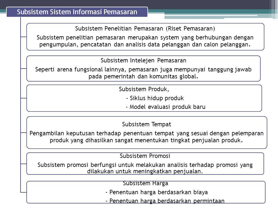 Subsistem Sistem Informasi Pemasaran Subsistem Penelitian Pemasaran (Riset Pemasaran) Subsistem penelitian pemasaran merupakan system yang berhubungan
