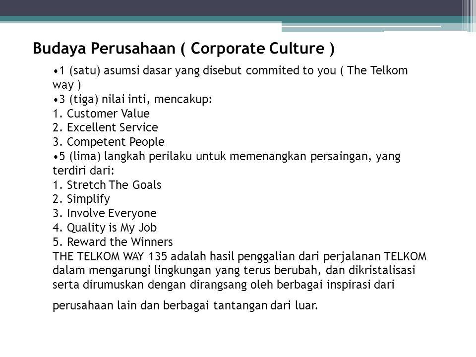 Budaya Perusahaan ( Corporate Culture ) 1 (satu) asumsi dasar yang disebut commited to you ( The Telkom way ) 3 (tiga) nilai inti, mencakup: 1. Custom