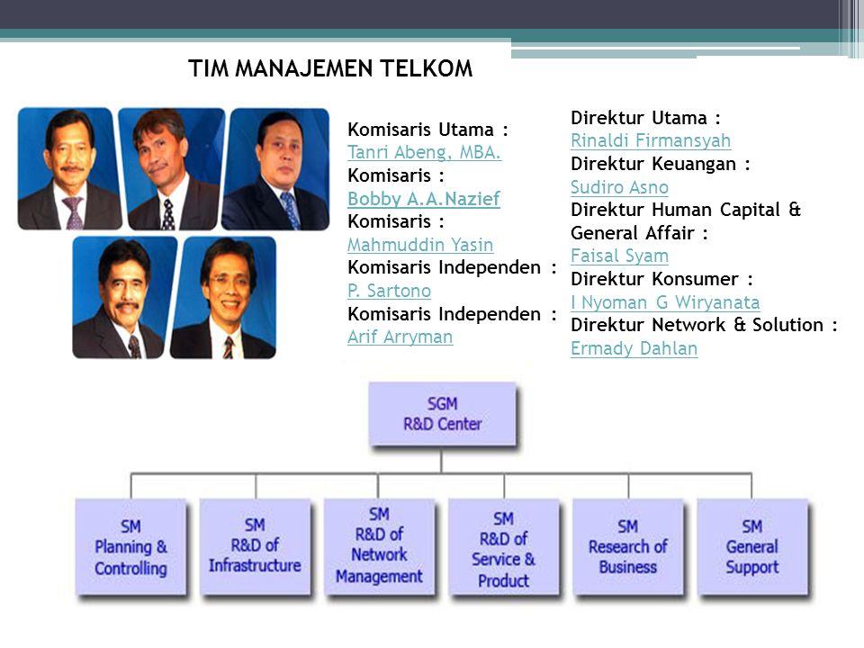 TIM MANAJEMEN TELKOM Komisaris Utama : Tanri Abeng, MBA. Komisaris : Bobby A.A.Nazief Tanri Abeng, MBA. Bobby A.A.Nazief Komisaris : Mahmuddin Yasin K