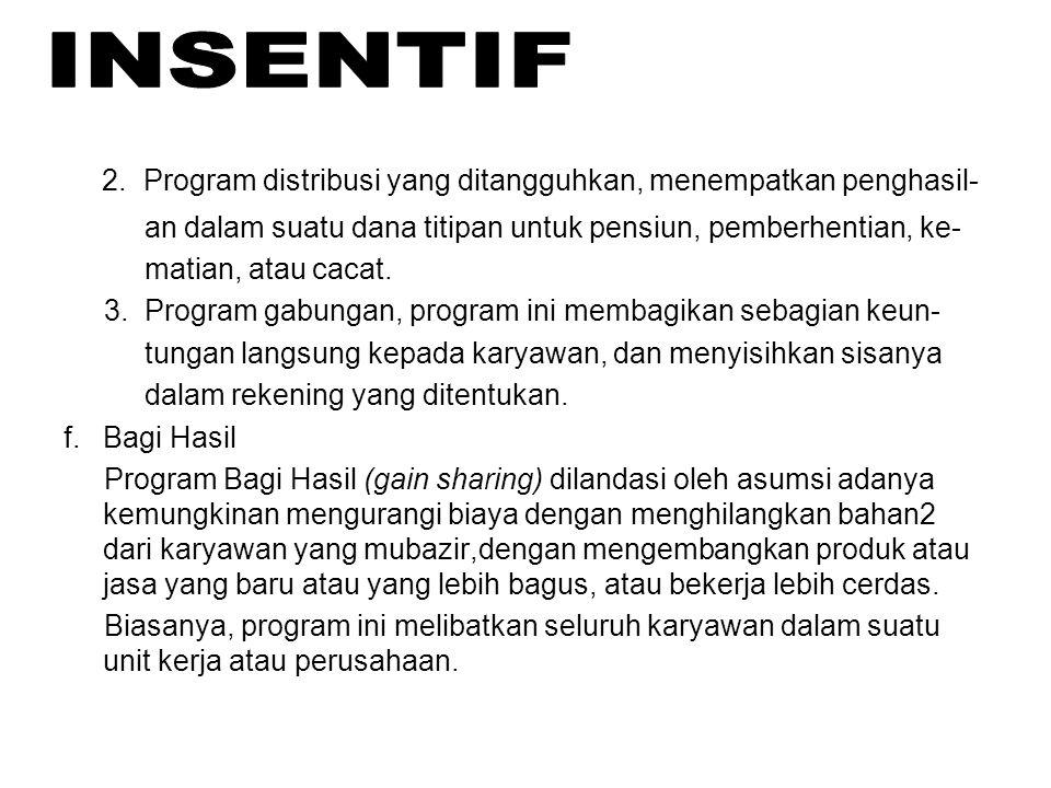 2. Program distribusi yang ditangguhkan, menempatkan penghasil- an dalam suatu dana titipan untuk pensiun, pemberhentian, ke- matian, atau cacat. 3. P