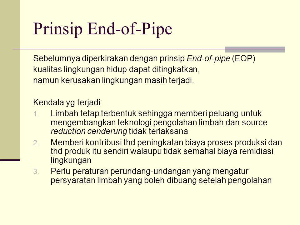 Prinsip End-of-Pipe Sebelumnya diperkirakan dengan prinsip End-of-pipe (EOP) kualitas lingkungan hidup dapat ditingkatkan, namun kerusakan lingkungan