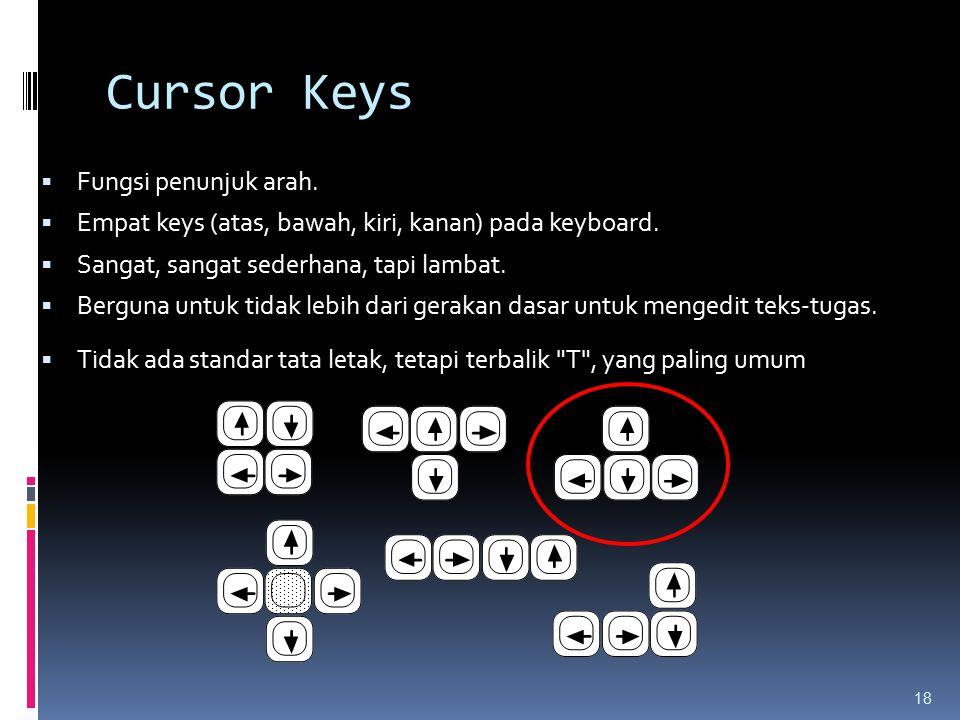 Cursor Keys  Fungsi penunjuk arah.  Empat keys (atas, bawah, kiri, kanan) pada keyboard.  Sangat, sangat sederhana, tapi lambat.  Berguna untuk ti