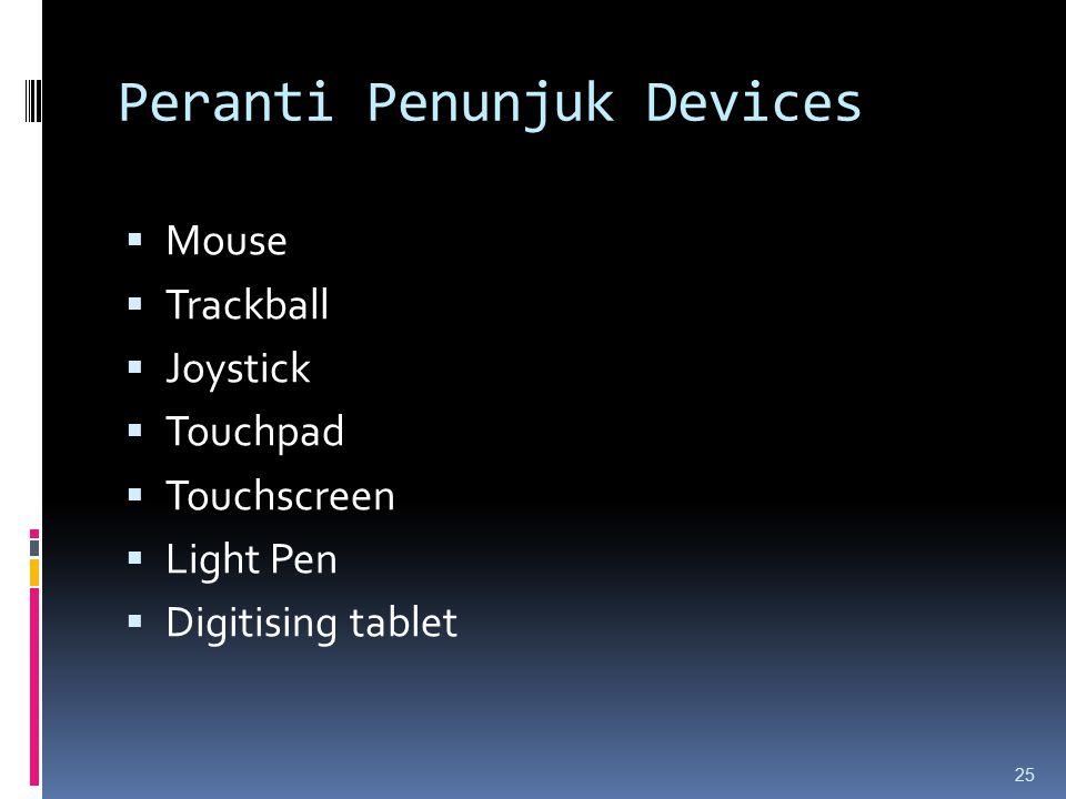 Peranti Penunjuk Devices  Mouse  Trackball  Joystick  Touchpad  Touchscreen  Light Pen  Digitising tablet 25