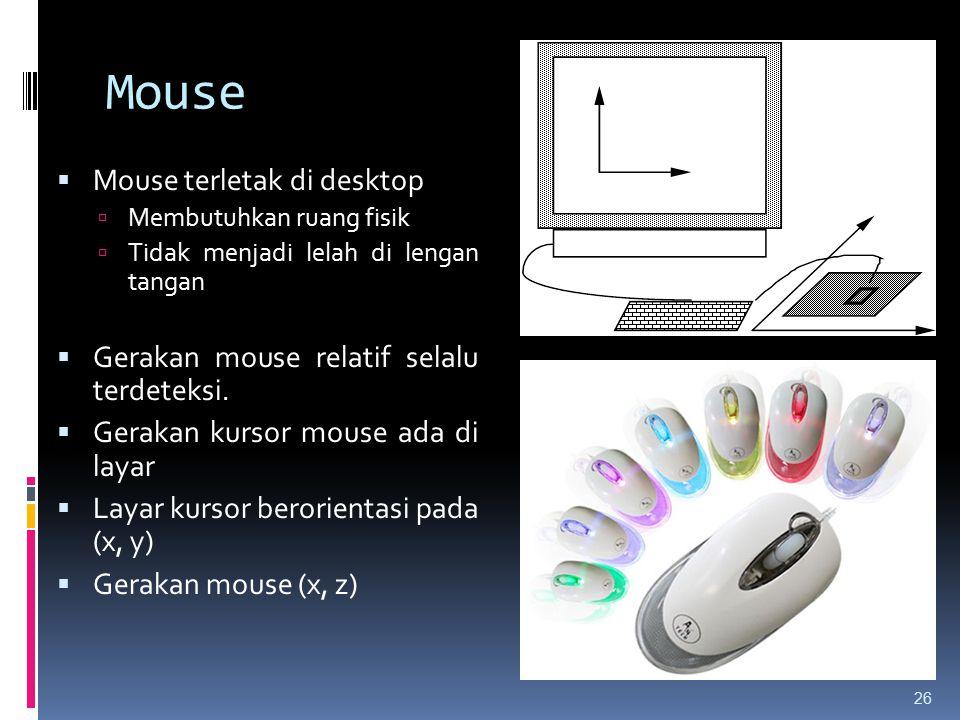 Mouse 26  Mouse terletak di desktop  Membutuhkan ruang fisik  Tidak menjadi lelah di lengan tangan  Gerakan mouse relatif selalu terdeteksi.  Ger