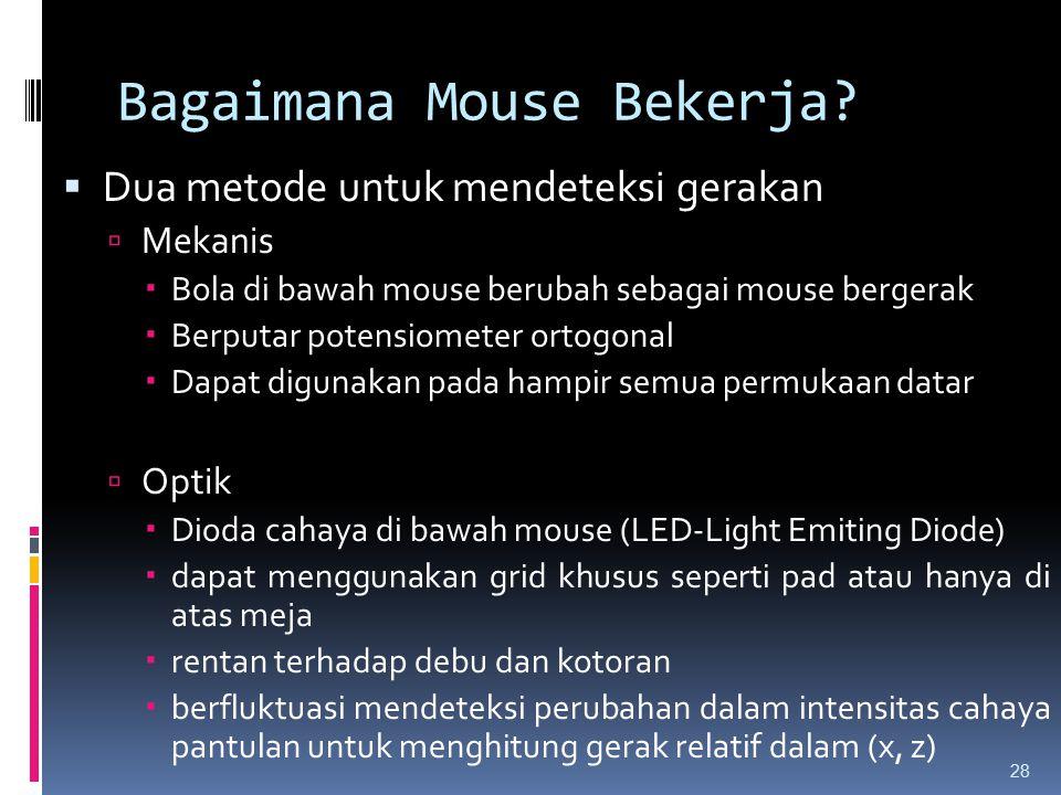 Bagaimana Mouse Bekerja?  Dua metode untuk mendeteksi gerakan  Mekanis  Bola di bawah mouse berubah sebagai mouse bergerak  Berputar potensiometer