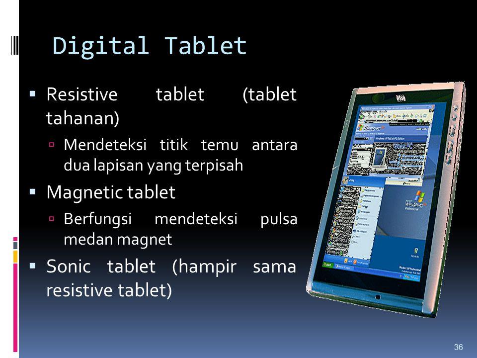 Digital Tablet  Resistive tablet (tablet tahanan)  Mendeteksi titik temu antara dua lapisan yang terpisah  Magnetic tablet  Berfungsi mendeteksi p