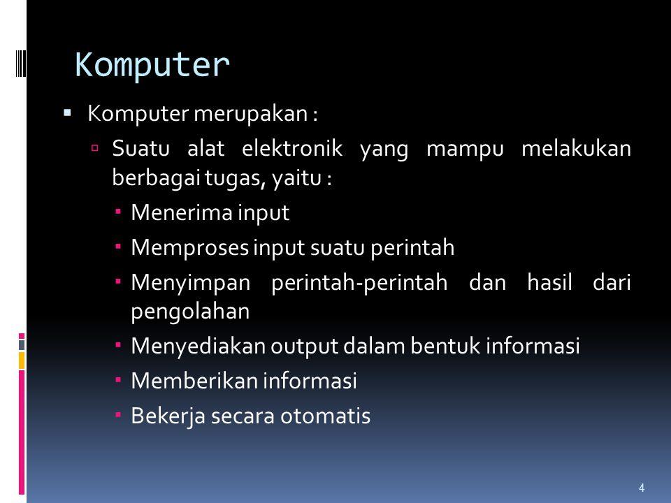 Komputer  Komputer merupakan :  Suatu alat elektronik yang mampu melakukan berbagai tugas, yaitu :  Menerima input  Memproses input suatu perintah