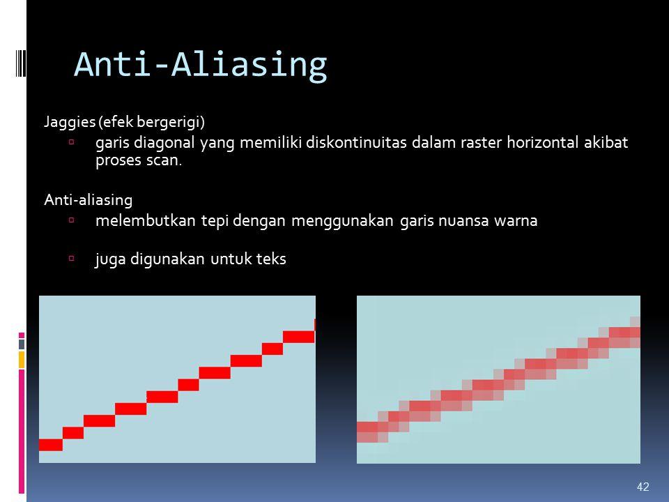 Anti-Aliasing Jaggies (efek bergerigi)  garis diagonal yang memiliki diskontinuitas dalam raster horizontal akibat proses scan. Anti-aliasing  melem