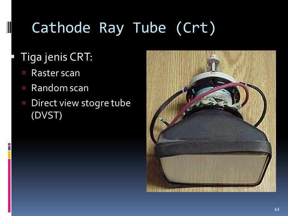 Cathode Ray Tube (Crt)  Tiga jenis CRT:  Raster scan  Random scan  Direct view stogre tube (DVST) 44