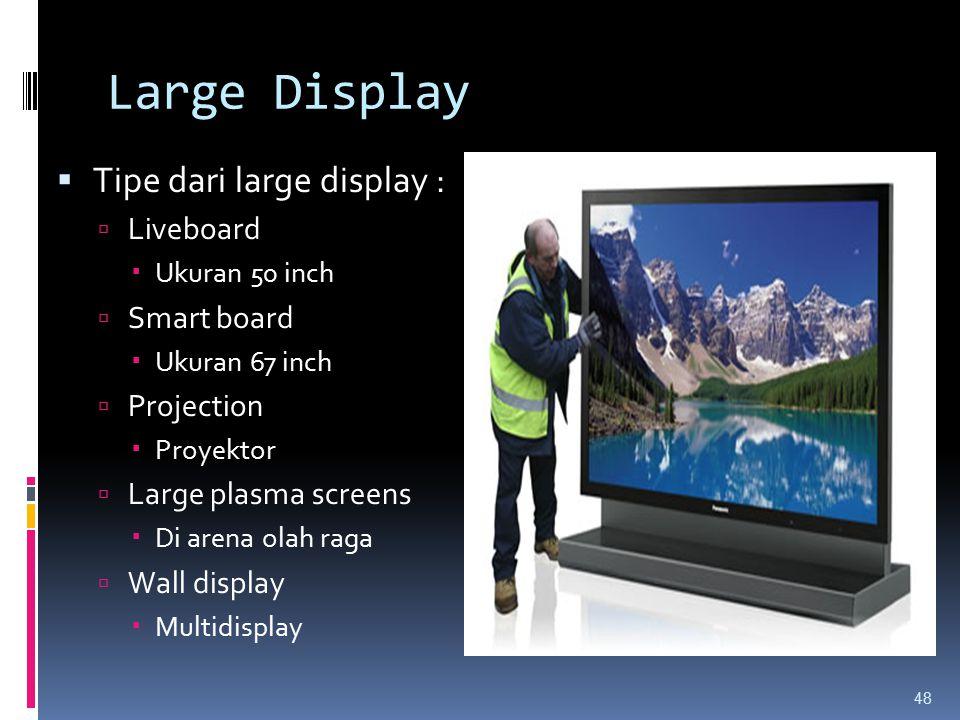 Large Display  Tipe dari large display :  Liveboard  Ukuran 50 inch  Smart board  Ukuran 67 inch  Projection  Proyektor  Large plasma screens