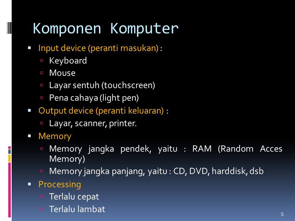 Komponen Komputer  Input device (peranti masukan) :  Keyboard  Mouse  Layar sentuh (touchscreen)  Pena cahaya (light pen)  Output device (perant