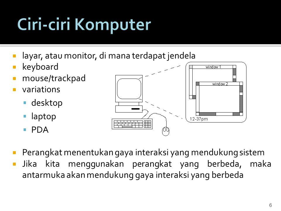 6  layar, atau monitor, di mana terdapat jendela  keyboard  mouse/trackpad  variations  desktop  laptop  PDA  Perangkat menentukan gaya intera