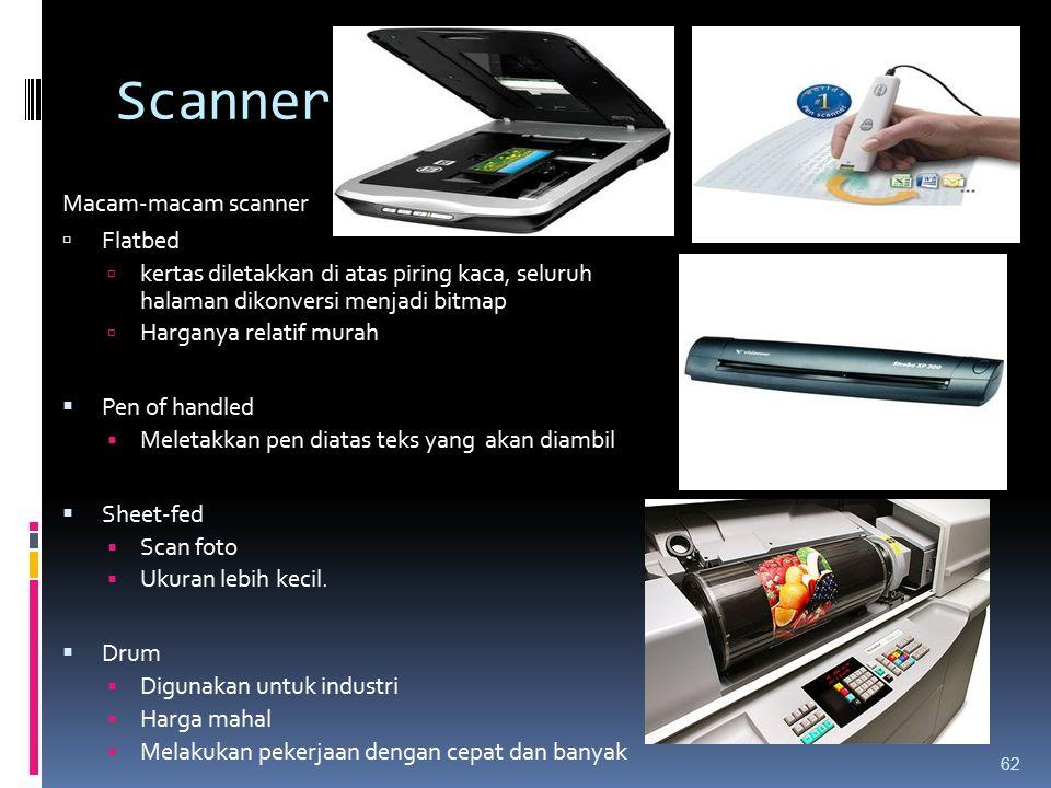 Scanner Macam-macam scanner  Flatbed  kertas diletakkan di atas piring kaca, seluruh halaman dikonversi menjadi bitmap  Harganya relatif murah  Pe