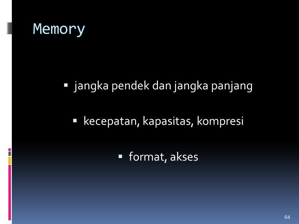 Memory  jangka pendek dan jangka panjang  kecepatan, kapasitas, kompresi  format, akses 64