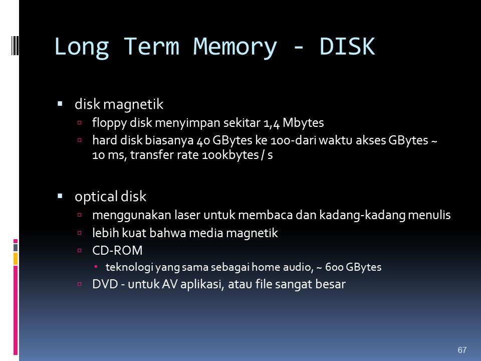 Long Term Memory - DISK  disk magnetik  floppy disk menyimpan sekitar 1,4 Mbytes  hard disk biasanya 40 GBytes ke 100-dari waktu akses GBytes ~ 10