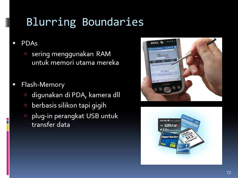 Blurring Boundaries 72  PDAs  sering menggunakan RAM untuk memori utama mereka  Flash-Memory  digunakan di PDA, kamera dll  berbasis silikon tapi