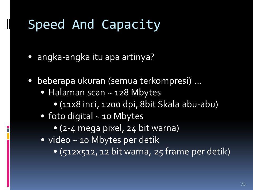 Speed And Capacity angka-angka itu apa artinya? beberapa ukuran (semua terkompresi)... Halaman scan ~ 128 Mbytes (11x8 inci, 1200 dpi, 8bit Skala abu-