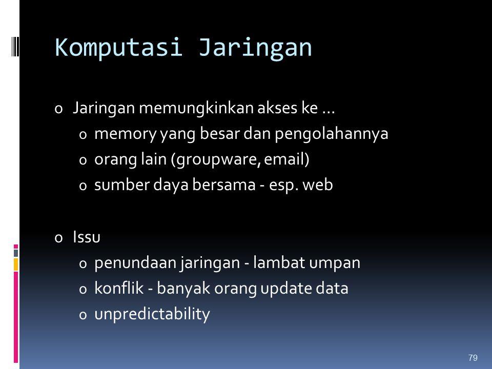 Komputasi Jaringan o Jaringan memungkinkan akses ke... o memory yang besar dan pengolahannya o orang lain (groupware, email) o sumber daya bersama - e
