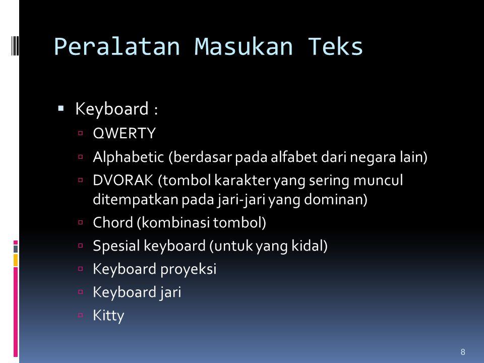 Peralatan Masukan Teks  Keyboard :  QWERTY  Alphabetic (berdasar pada alfabet dari negara lain)  DVORAK (tombol karakter yang sering muncul ditemp