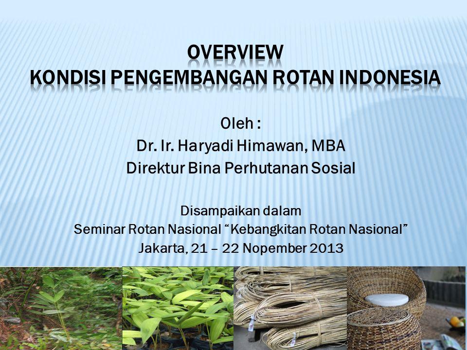 """Oleh : Dr. Ir. Haryadi Himawan, MBA Direktur Bina Perhutanan Sosial Disampaikan dalam Seminar Rotan Nasional """"Kebangkitan Rotan Nasional"""" Jakarta, 21"""