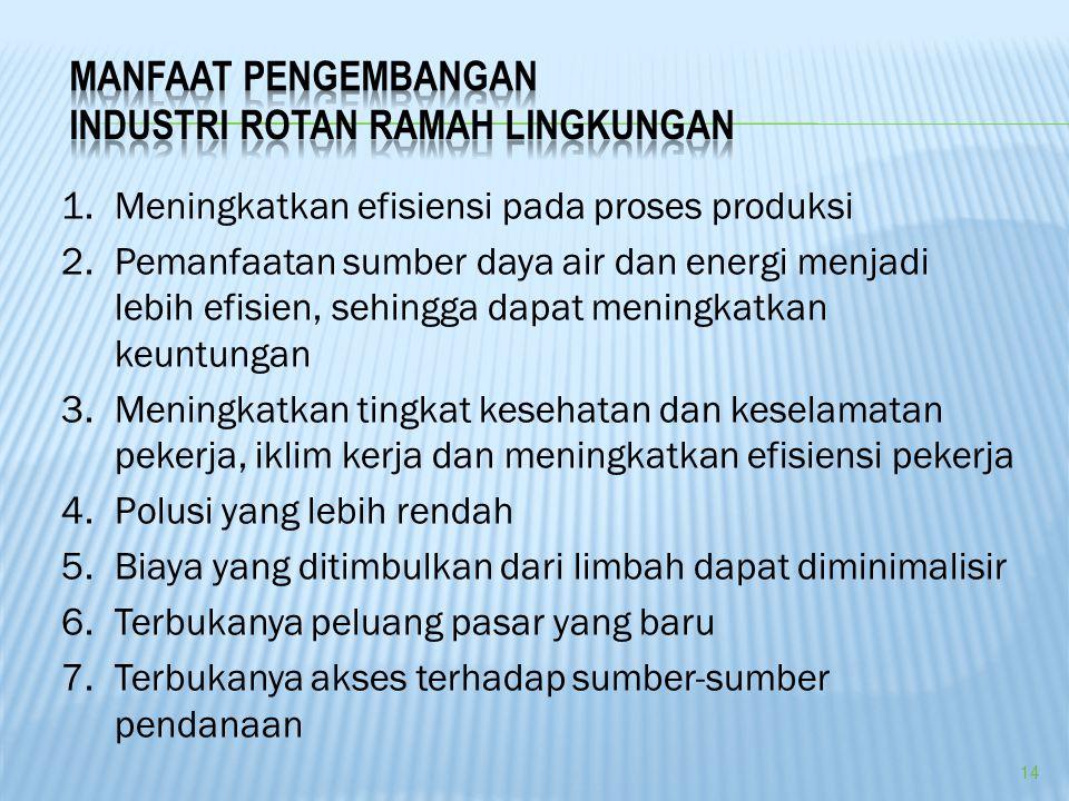 1.Meningkatkan efisiensi pada proses produksi 2.Pemanfaatan sumber daya air dan energi menjadi lebih efisien, sehingga dapat meningkatkan keuntungan 3