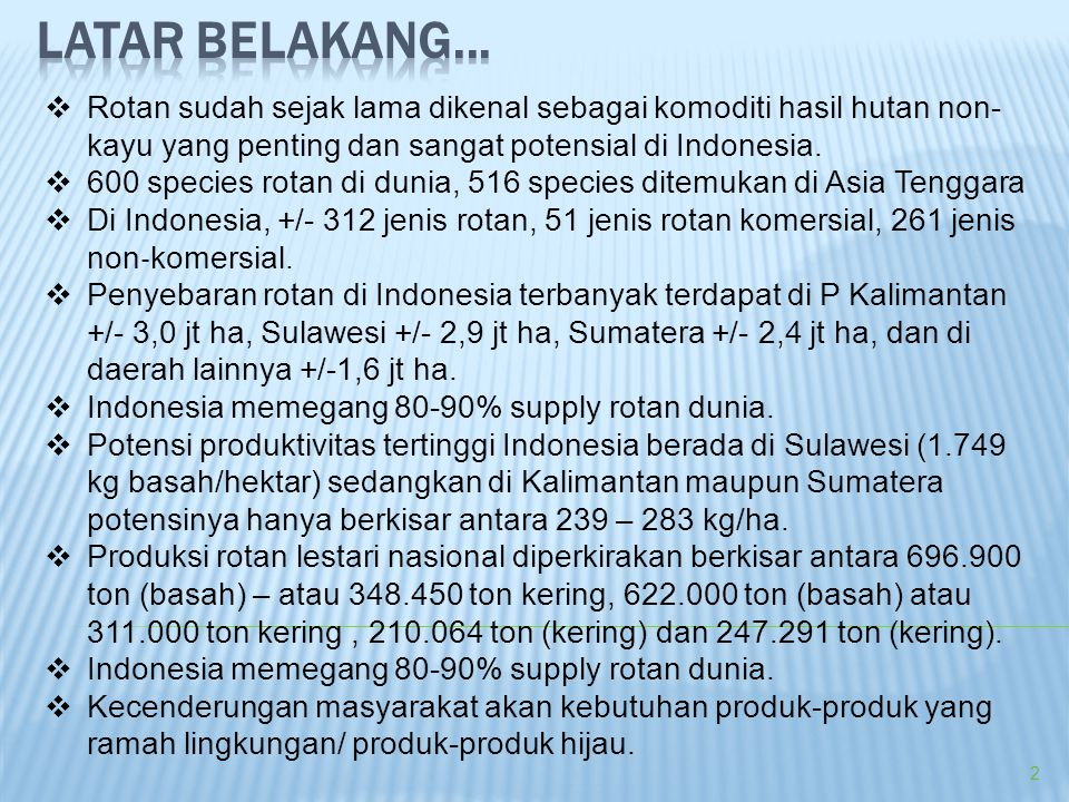  Rotan sudah sejak lama dikenal sebagai komoditi hasil hutan non- kayu yang penting dan sangat potensial di Indonesia.  600 species rotan di dunia,