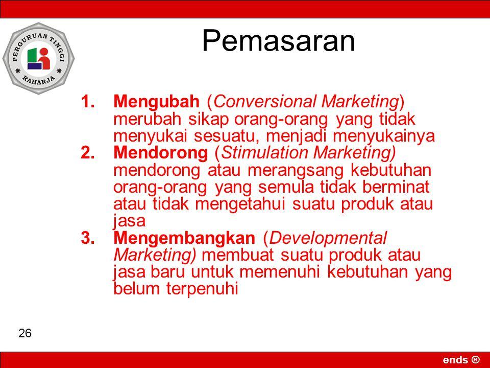 ends ® 25 Tujuan Pemasaran KonsumenProduk Mengenal Mendekatkan Memahami