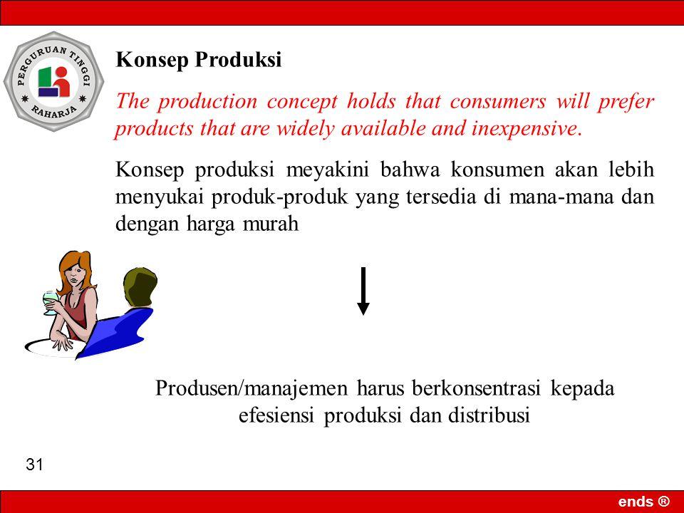 ends ® 30 Lima konsep aktivitas pemasaran yang mendasar dalam menghadapi persaingan : 1.Konsep produksi 2.Konsep produk 3.Konsep penjualan 4.Konsep pemasaran 5.Konsep pemasaran berwawasan masyarakat