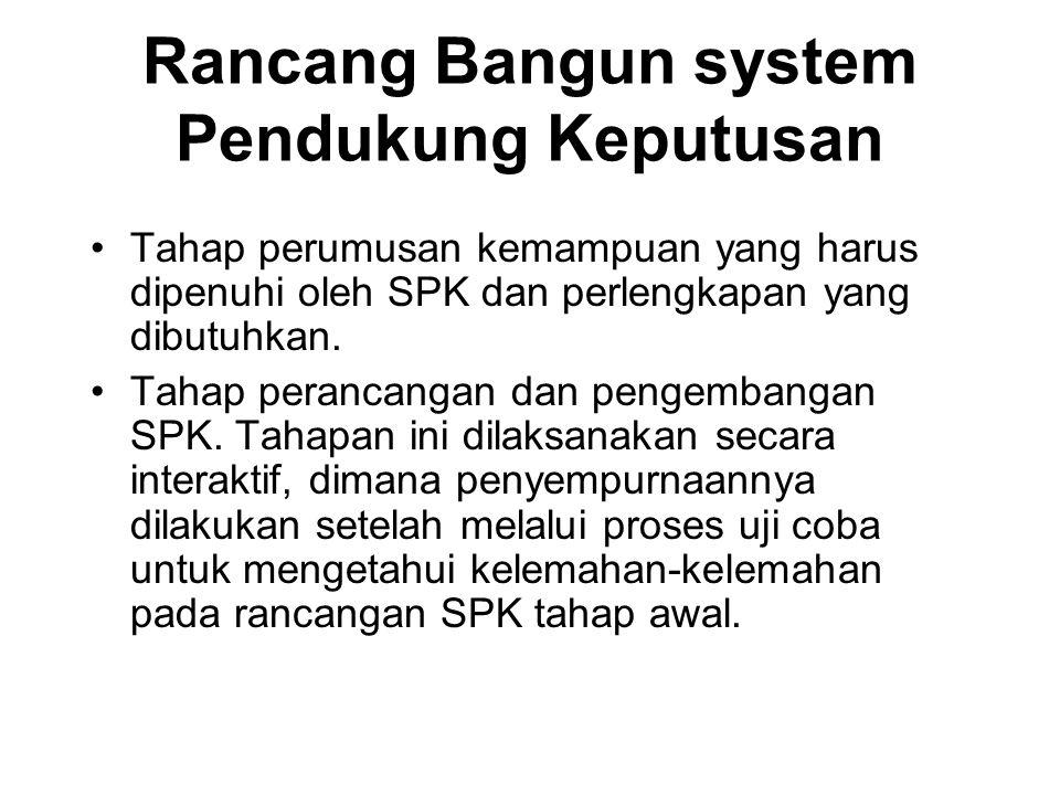 Rancang Bangun system Pendukung Keputusan Tahap perumusan kemampuan yang harus dipenuhi oleh SPK dan perlengkapan yang dibutuhkan. Tahap perancangan d