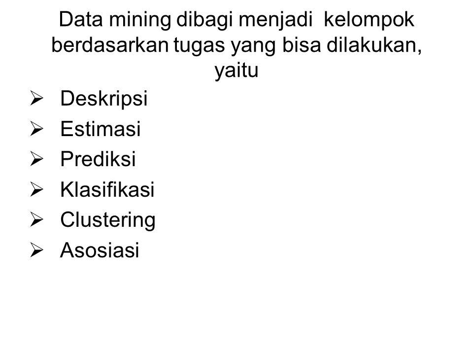 Data mining dibagi menjadi kelompok berdasarkan tugas yang bisa dilakukan, yaitu  Deskripsi  Estimasi  Prediksi  Klasifikasi  Clustering  Asosia